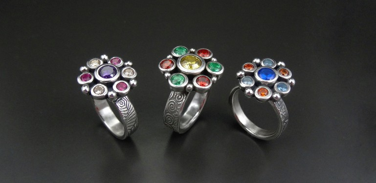 Colourful Cluster Rings by Joy Funnell_group_1a